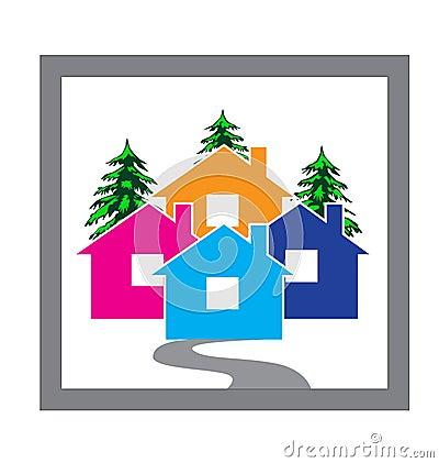Free Houses Village Concept Icon Vector Design Stock Photos - 121825423