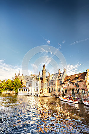 Houses by the water in Brugge, Belgium