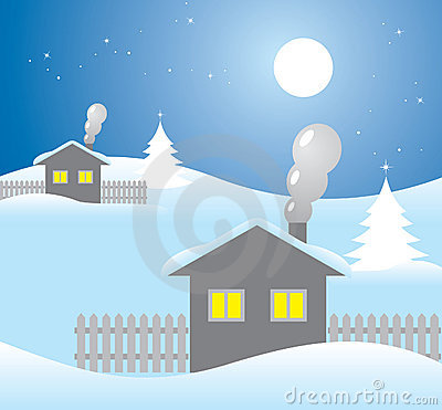 Houses on a winter night