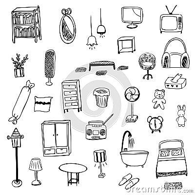 Free Housewares Sketch Vector Symbol Stock Photos - 48036623