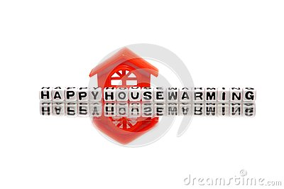 Housewarming message with red home