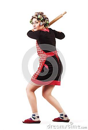 Housewife baseball batter player