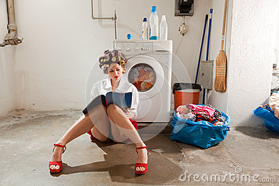 Housewife Bored In The Laundry Stock Image - Image: 30181021