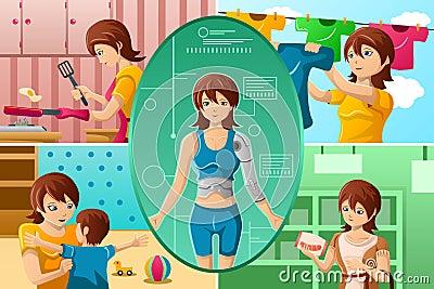 Housewife handling multiple tasks