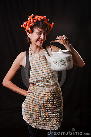 Housewife with a kettle