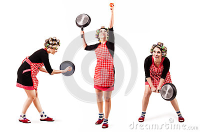Housewife play by tennis