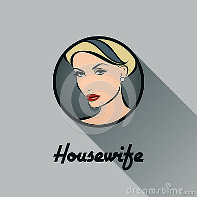 Housewife. Retro icon with long shadow. Vector illustration