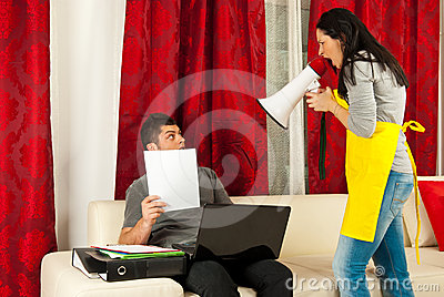Housewife shouting to her husband