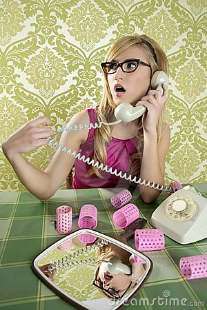 Housewife telephone woman vintage wallpapaper