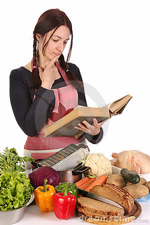 Housewife thinking with a book recipe