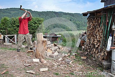 Housework, man cuts wood, preparation for winter