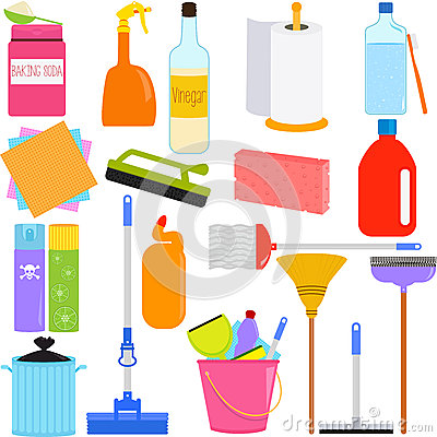 Housework Tools And Cleaning Equipments Royalty Free Stock