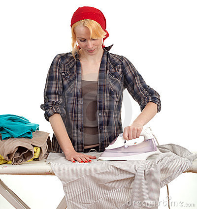 Housework - woman ironing clothes
