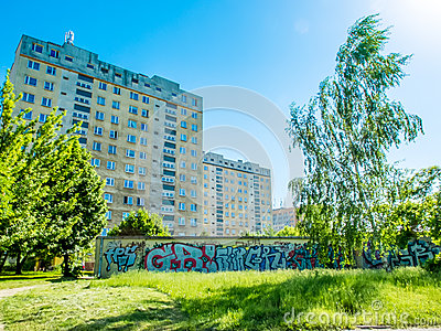 Housing estates in Poland with a graffiti painted Editorial Image