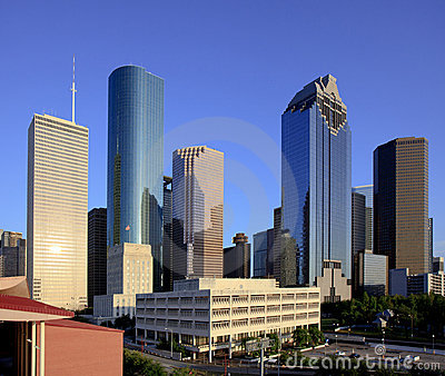 Houston City Hall with Downtown Skyline