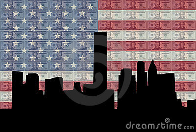 Houston skyline with flag
