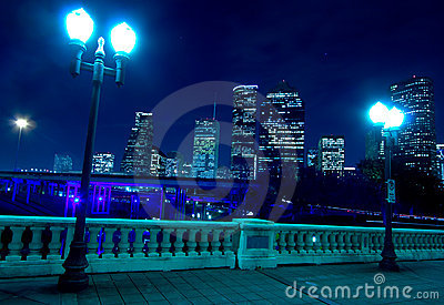 Houston skyline at night with bridge in foreground