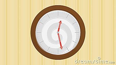 Houten klok op muur met gestript behang met één uur het overgaan royalty-vrije illustratie