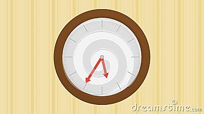 Houten klok op muur met gestript behang met een half uuruur die, naadloze lijn overgaan vector illustratie