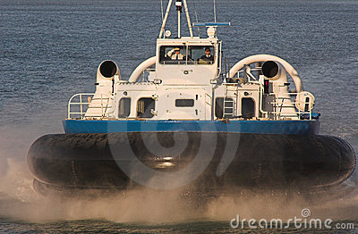 Hovercraft on blue sea