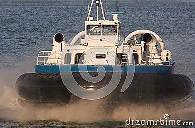 Hovercraft on blue sea