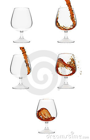 How brandy gets into glass. 5 stages