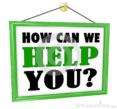 Free How Can We Help You Hanging Store Sign Helpful Service Stock Photo - 31479230