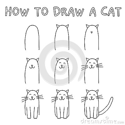 Free How To Draw A Cat Royalty Free Stock Photography - 99744697