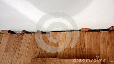 How to install Oak wood parquet Stock Photo