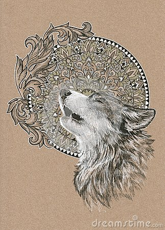 howling wolf  dog on the background of the mandala stock clipart wolf bases clipart wolf heads