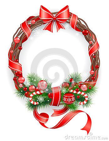 Сhristmas wreath with  spruce  tree
