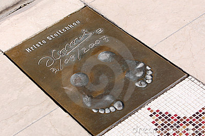 Hristo Stoichkov s footprints Editorial Stock Image