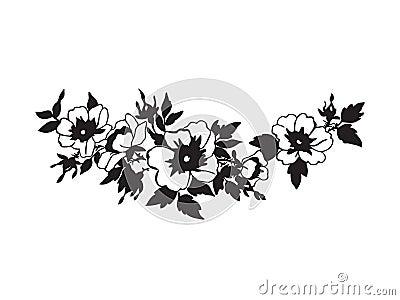 blommor tecknade svartvita