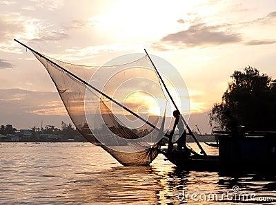 Härlig skymningfiskare vietnam