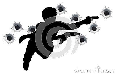 Héroe de la acción en silueta de la lucha del arma