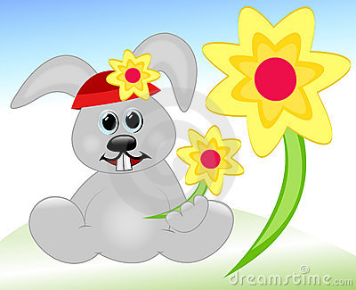 Häschen mit Frühlingsblumen