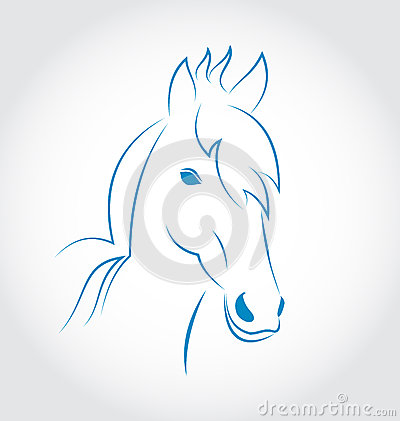 Häst för symbolöversiktshuvud på vit bakgrund