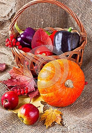 Höststilleben av grönsaker, frukter och leaves