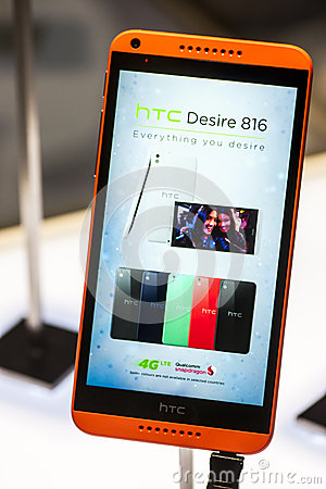 HTC DESIRE 816, MOBILE WORLD CONGRESS 2014 Editorial Image