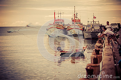 Hua Hin fishing boat port Editorial Image