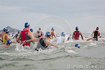 Hua Hin Triathlon competitors Editorial Stock Photo