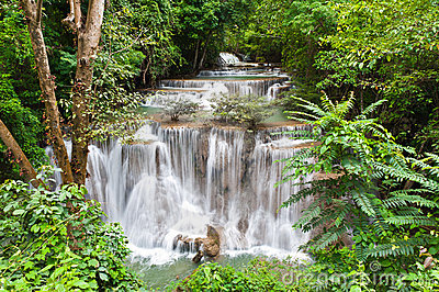 Huay mae Kamin waterfall in deep jungle