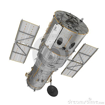 Free Hubble Space Telescope Isolated On White Backgrouns. 3D Illustration Stock Photo - 129350720