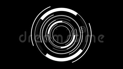 HUD element digital -circular white on black background. 4K stock video footage