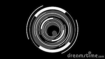 HUD-Element digital - Kreisweiß auf schwarzem Hintergrund stock video footage