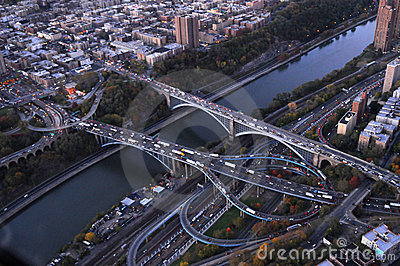 Hudson River bridges aerial