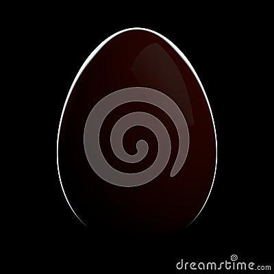 Huevo rojo con la luz del borde en fondo negro