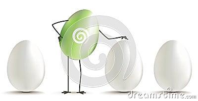 Huevo verde entre los huevos blancos