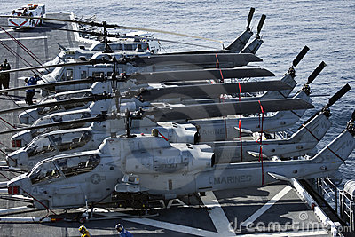 Huey and Cobra Helicopters onboard the USS Peleliu Editorial Image