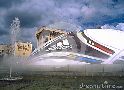 Huge ball with logo of UEFA EURO 2012™ Editorial Stock Image